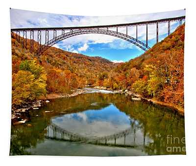Flaming Fall Foliage At New River Gorge Tapestry
