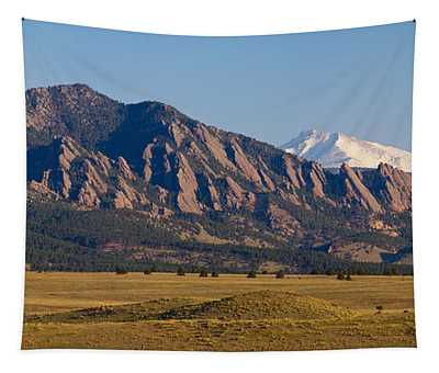 Flatirons And Snow Covered Longs Peak Panorama Tapestry by James BO Insogna