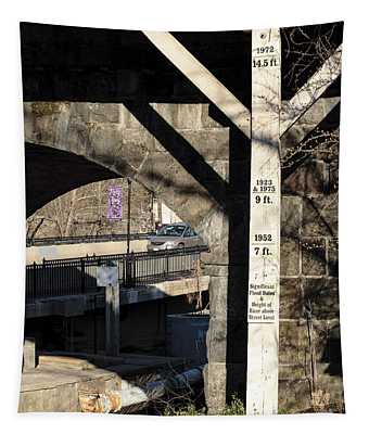 Flood Height Sign At Ellicott City Maryland Tapestry