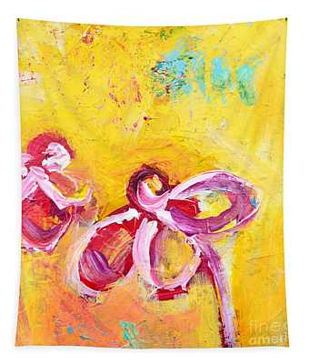 Abstract Flowers Silhouette No 14 Tapestry