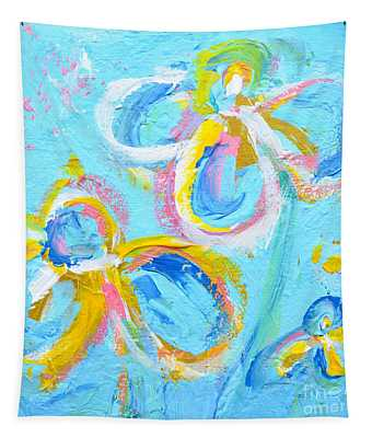 Abstract Flowers Silhouette No 16 Tapestry