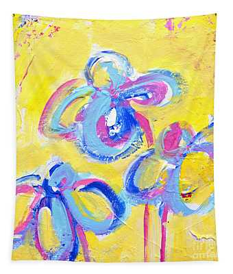 Abstract Flowers Silhouette No 13 Tapestry