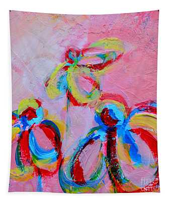 Abstract Flowers Silhouette No 11 Tapestry
