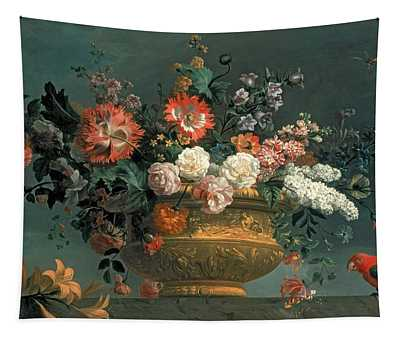 Flower Piece With Parrot Tapestry