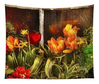 Tapestry featuring the photograph Flower - Tulip - Tulips In A Window by Mike Savad