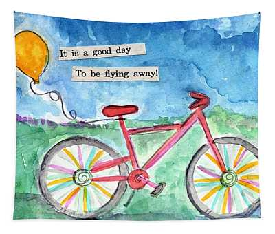 Flying Away- Bicycle And Balloon Painting Tapestry