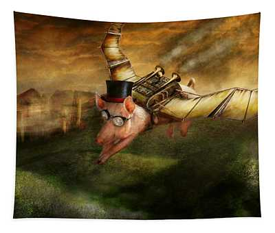 Flying Pig - Steampunk - The Flying Swine Tapestry