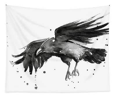 Flying Raven Watercolor Tapestry