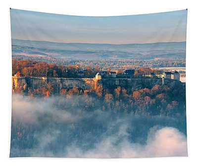 Fog Around The Fortress Koenigstein Tapestry