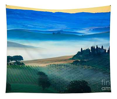 Fog In Tuscan Valley Tapestry