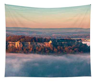 Fog Surrounding The Fortress Koenigstein Tapestry