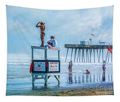 Foggy Beach View Tapestry