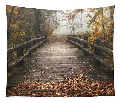 Foggy Lake Park Footbridge Tapestry