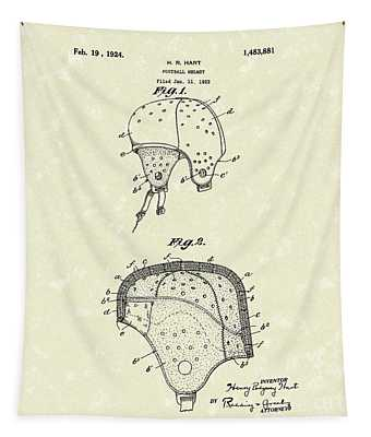 Football Helmet 1924 Patent Art Tapestry by Prior Art Design