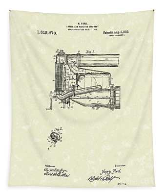 Ford Engine Assembly 1919 Patent Art Tapestry