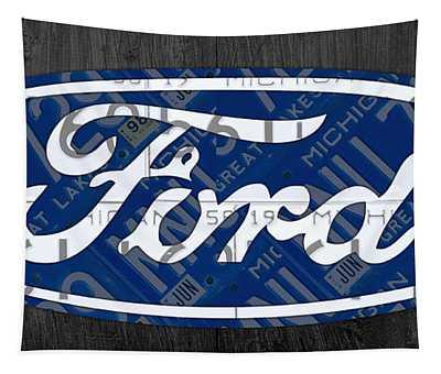 Ford Motor Company Retro Logo License Plate Art Tapestry