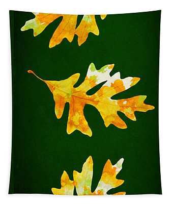 Forest Green Autumn Oak Leaf Painting Tapestry