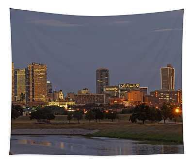 Fort Worth Skyline Golden Hour Tapestry