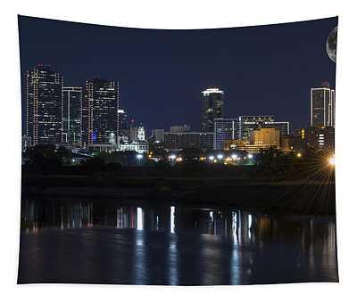 Fort Worth Skyline Super Moon Tapestry