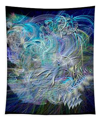 Fractal Feathers Blue Tapestry