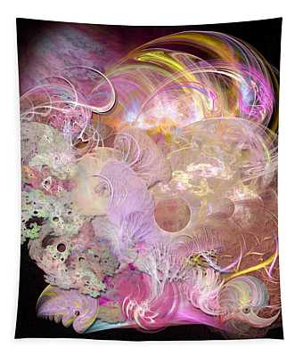 Fractal Feathers Pink Tapestry