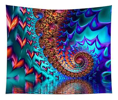 Fractal Sea Of Love With Hearts Tapestry