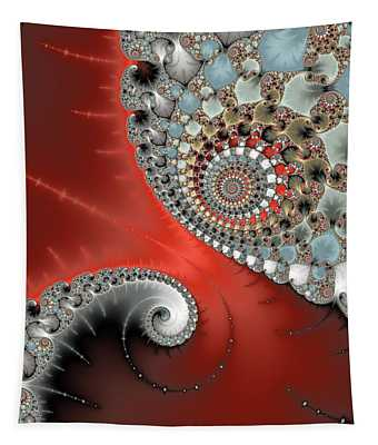 Fractal Spiral Art Red Grey And Light Blue Tapestry