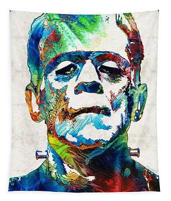 Frankenstein Art - Colorful Monster - By Sharon Cummings Tapestry