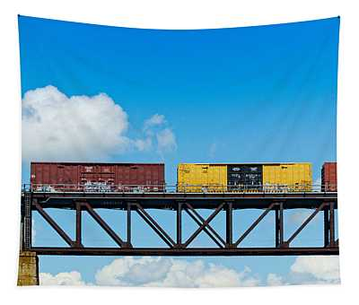 Freight Train Passing Over A Bridge Tapestry