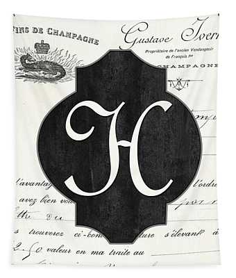 French Champagne Monogram Tapestry