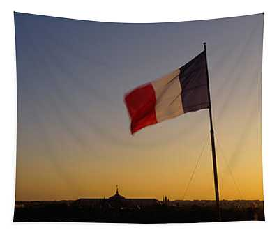 French Flag Waving In The Wind, Paris Tapestry