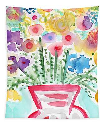Fresh Picked Flowers- Contemporary Watercolor Painting Tapestry