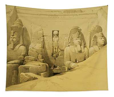 Front Elevation Of The Great Temple Of Aboo Simbel Tapestry