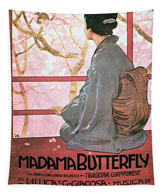 Frontispiece Of The Score Sheet For Madame Butterfly By Giacomo Puccini 1858-1924 Colour Litho See Tapestry