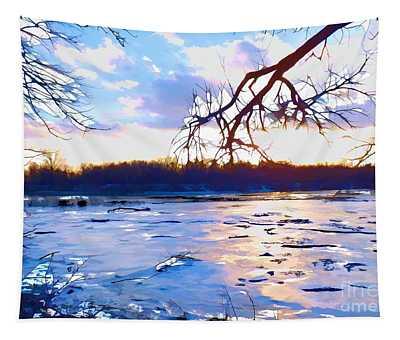 Frozen Delaware River Sunset Tapestry