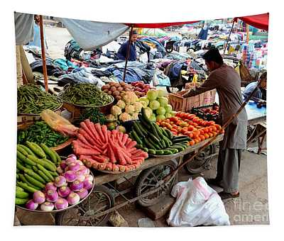 Fruit And Vegetable Seller Tends To His Cart Outside Empress Market Karachi Pakistan Tapestry