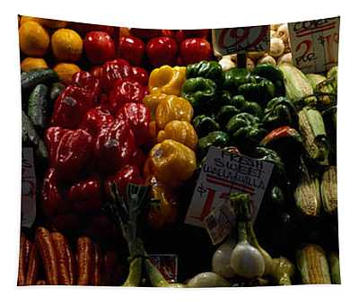 Fruits And Vegetables At A Market Tapestry
