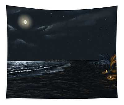 Full Moon Above The Mediterranean Sea Tapestry
