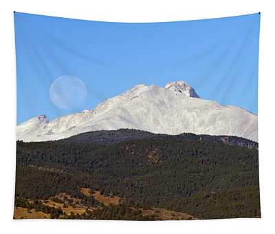 Full Moon Setting Over Snow Covered Twin Peaks  Tapestry