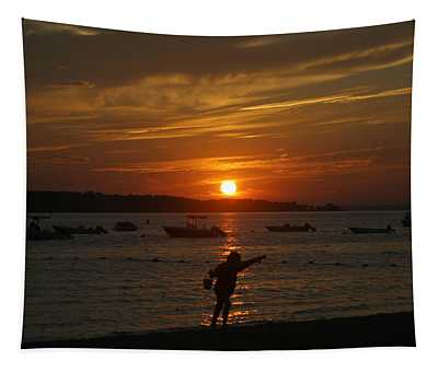 Fun At Sunset Tapestry
