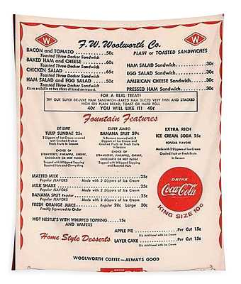 Fw Woolworth Lunch Counter Menu Tapestry