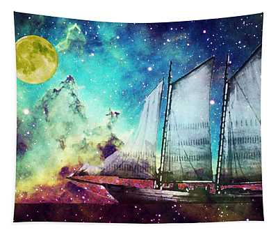 Galileo's Dream - Schooner Art By Sharon Cummings Tapestry