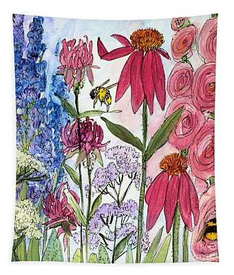 Garden Flower And Bees Tapestry