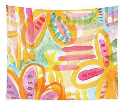 Garden Party- Abstract Flower Painting Tapestry