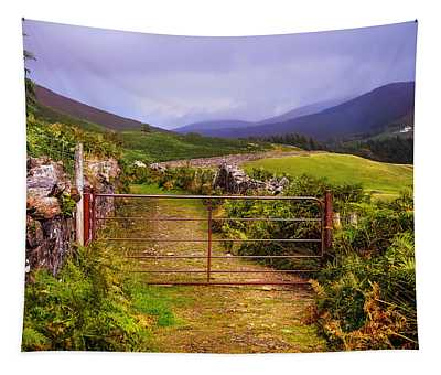 Gates On The Road. Wicklow Hills. Ireland Tapestry