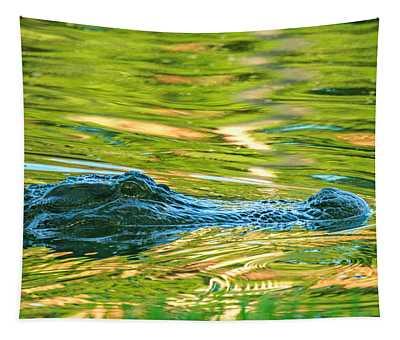 Gator In Pond Tapestry