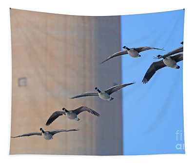 Geese Flying By Toledo Edison Stack  2942 Tapestry
