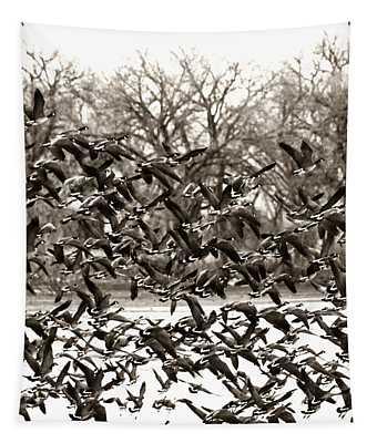 Geese In Flight 2 Tapestry