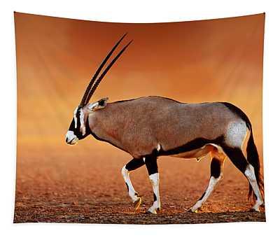 Gemsbok On Desert Plains At Sunset Tapestry
