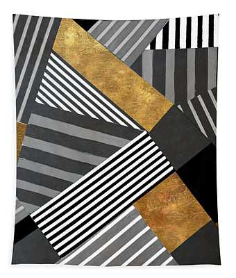 Geo Stripes In Gold And Black II Tapestry